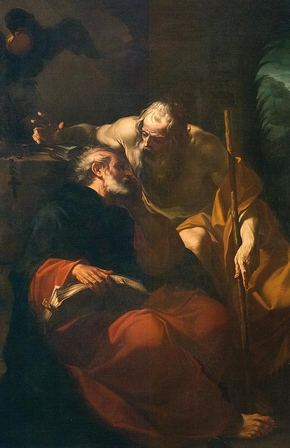 Saints Painting - St. Benedict And A Hermit by Domenico Maria Viani