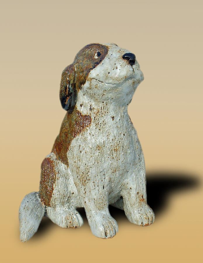 Clay Sculpture - St Bernard by Jeanette K