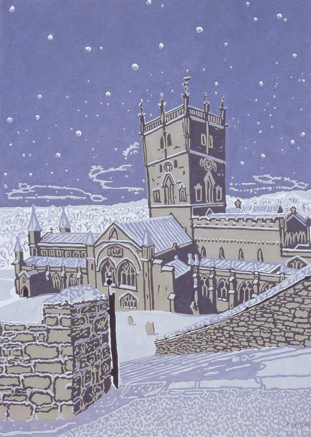 Winter; Church; Night; Nocturnal Painting - St David S Cathedral In The Snow by Huw S Parsons