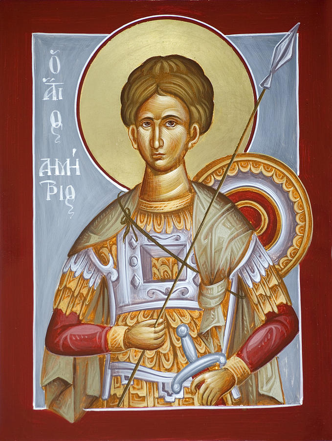 Icon Painting - St Dimitrios The Myrrhstreamer by Julia Bridget Hayes