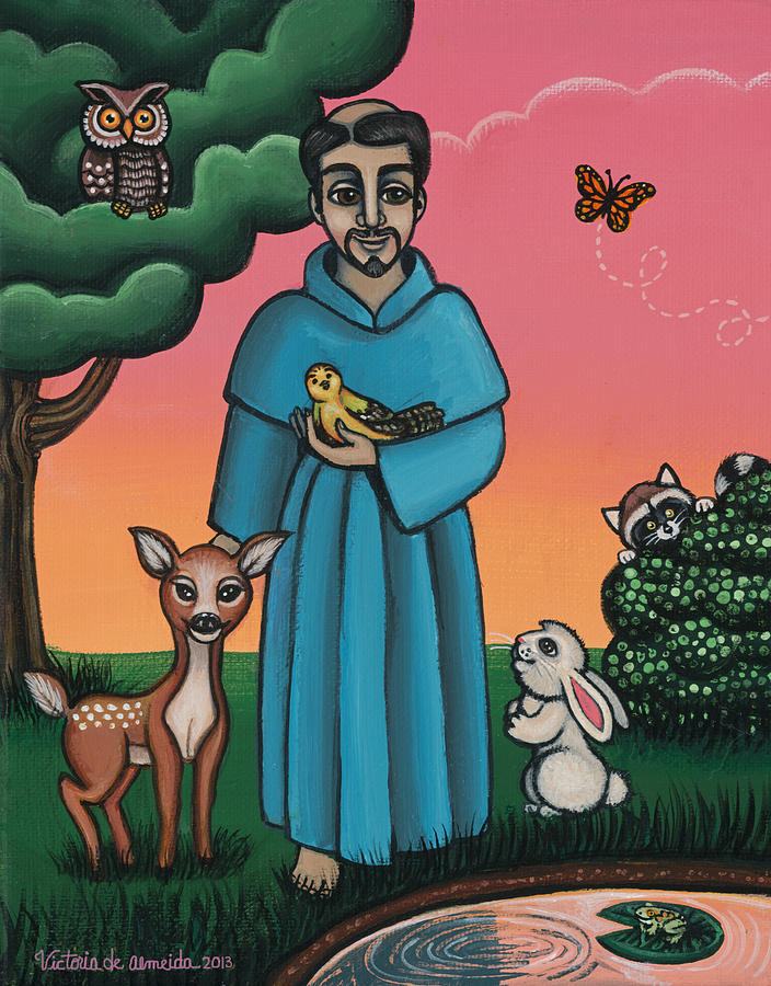 St. Francis Painting - St. Francis Animal Saint by Victoria De Almeida