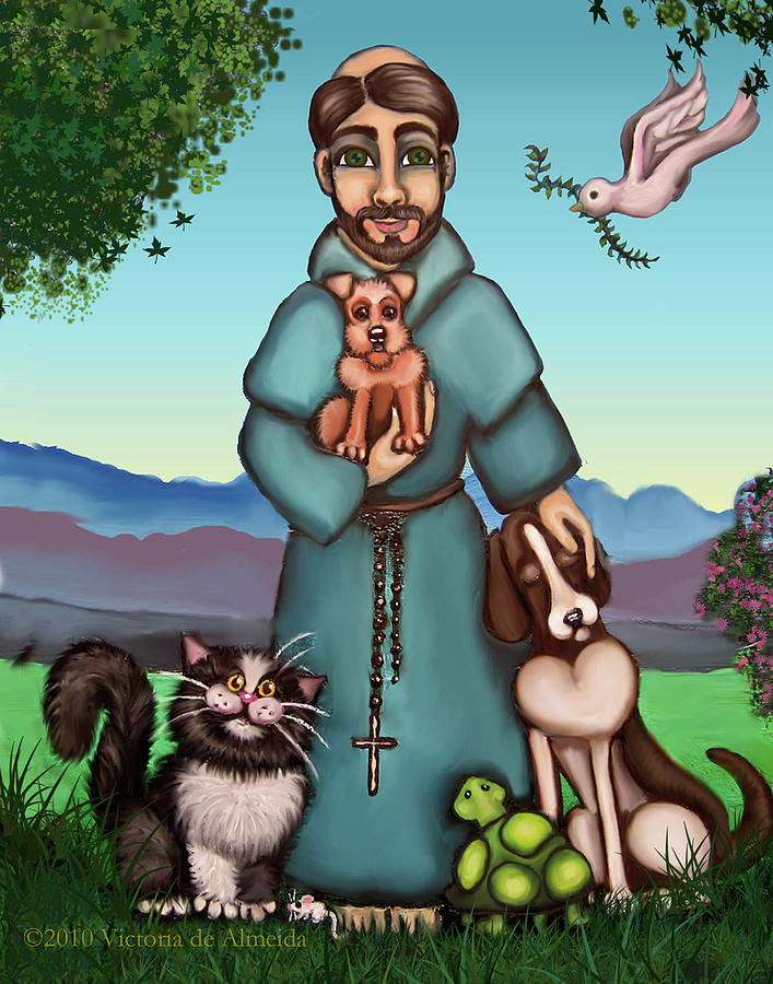 St. Francis Painting - St. Francis Libertys Blessing by Victoria De Almeida