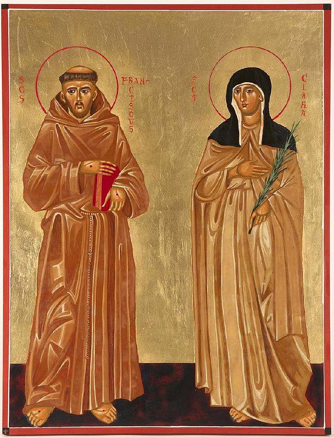Icons Painting - St. Francis Of Assisi And St. Clare by Joseph Malham