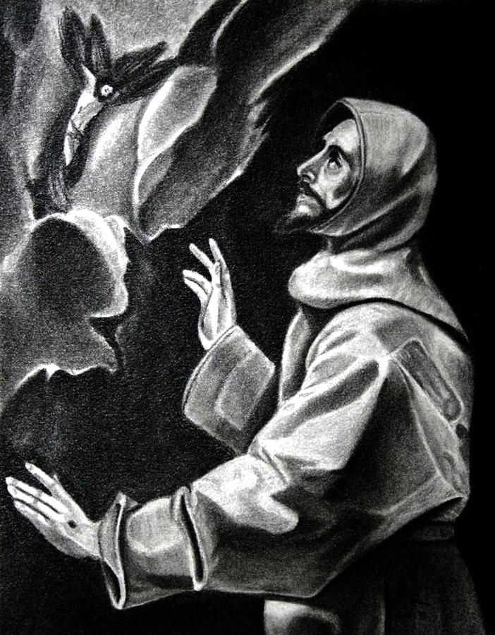 Santo Drawing - St Francis Of Assisi by Enrique Garcia