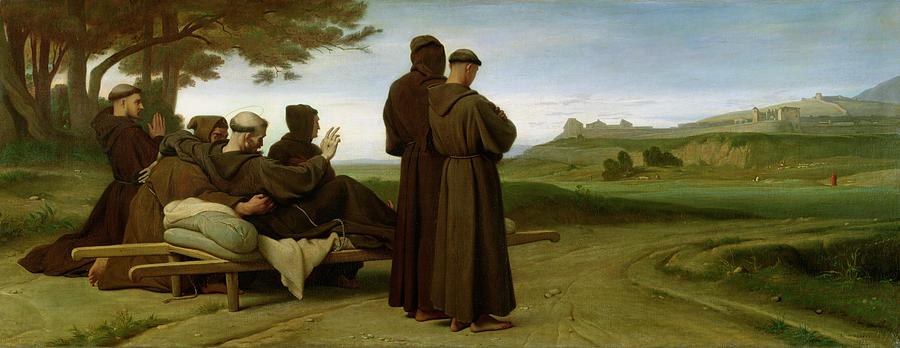 Francis Painting - Saint Francis Of Assisi, While Being Carried To His Final Resting Place At Saint-marie-des-anges by Francois Leon Benouville