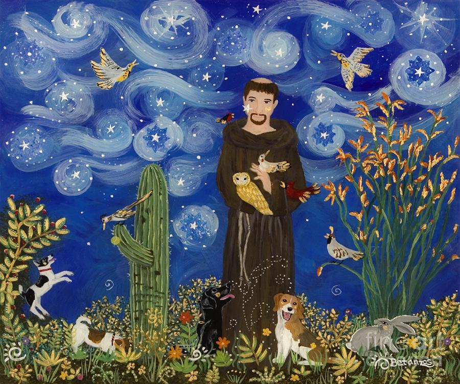 St. Francis Of Assisi Canvas Painting - St. Francis Starry Night by Sue Betanzos