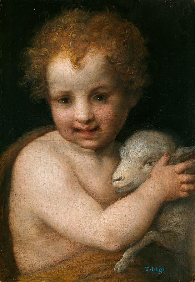 Cinquecento Painting - St. John The Baptist With The Lamb by Andrea del Sarto