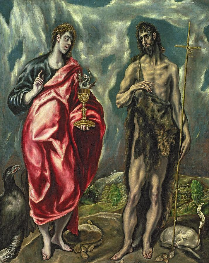 Baptist; Evengelist; Lamb; Tunic; Animal; Skins; Reed; Cross; Chalice; Snake; Landscape; Eagle; Poisoned Painting - St John The Evangelist And St John The Baptist by El Greco Domenico Theotocopuli