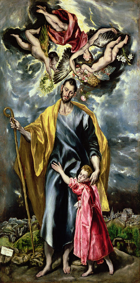 El Greco Painting - Saint Joseph And The Christ Child by El Greco
