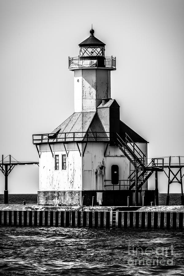 America Photograph - St. Joseph Lighthouse Black And White Picture  by Paul Velgos