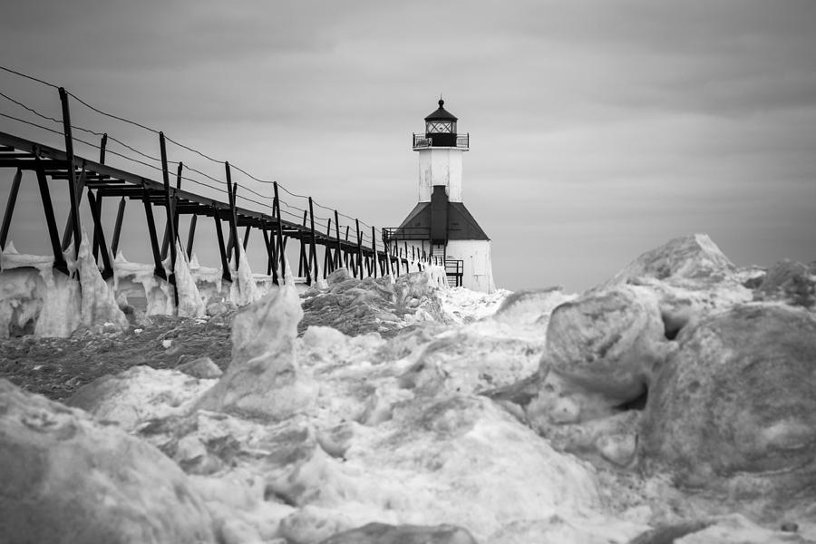 Lighthouse Photograph - St. Joseph Lighthouse In Ice Field by Kimberly Kotzian