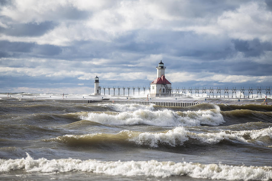 St Joseph Lighthouse on Windy Day by John McGraw