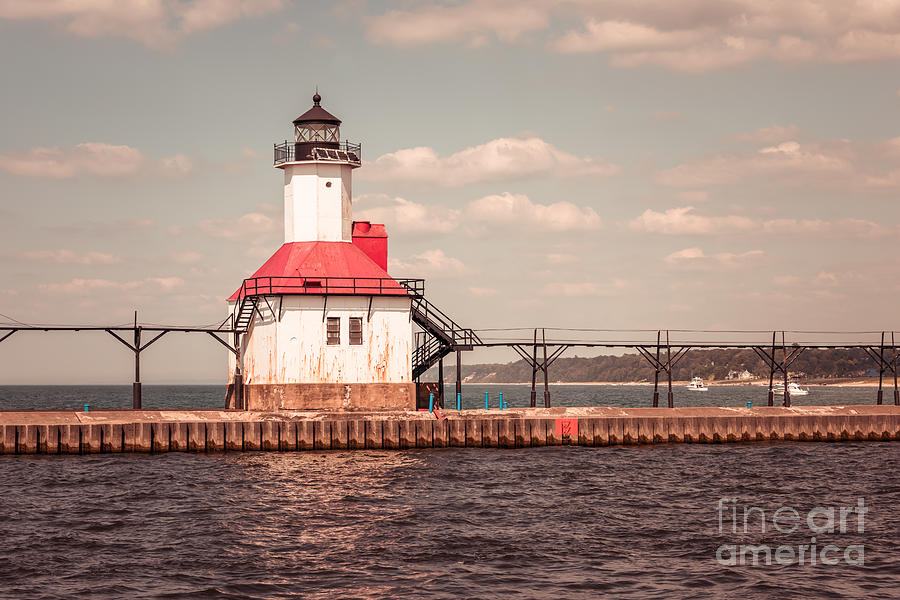 1970s Photograph - St. Joseph Lighthouse Vintage Picture  Photo by Paul Velgos