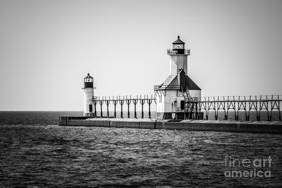America Photograph - St. Joseph Lighthouses Black And White Picture  by Paul Velgos