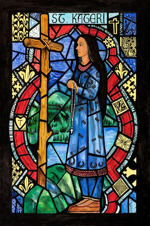 St. Kateri Tekakwitha Painting - St. Kateri by Chrissey Dittus