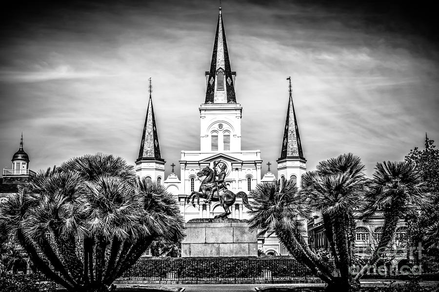 America Photograph - St. Louis Cathedral In New Orleans Black And White Picture by Paul Velgos