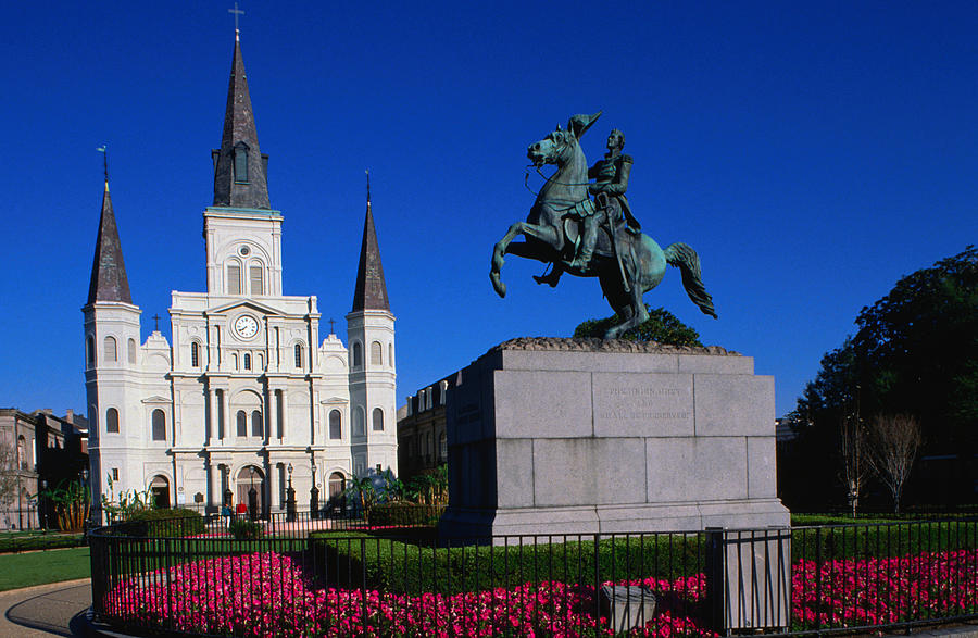 St Louis Cathedral With Statue Of Photograph by John Elk