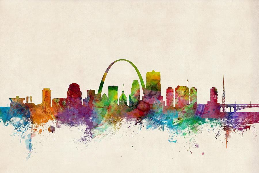 St Louis Digital Art - St Louis Missouri Skyline by Michael Tompsett