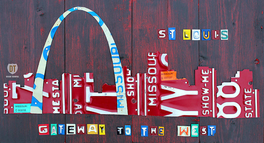 St. Louis Mixed Media - St. Louis Skyline License Plate Art by Design Turnpike
