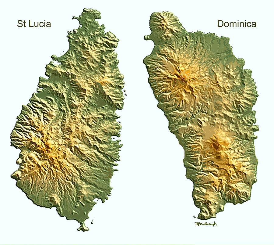 St Lucia And Dominica Map Digital Art by Duane McCullough