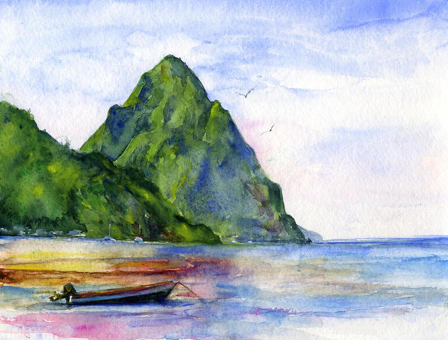 Island Painting - St. Lucia by John D Benson
