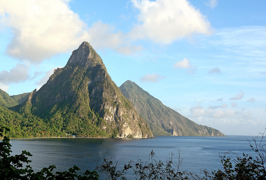 Mountains Photograph - St. Lucia - Piton Mountains by Brendan Reals