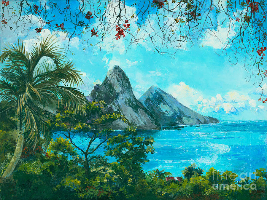 Mountains Painting - St. Lucia - W. Indies by Elisabeta Hermann