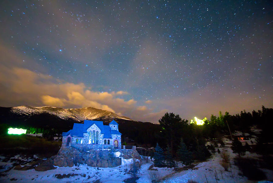 St Malos Chapel On The Rocks Starry Night View Photograph