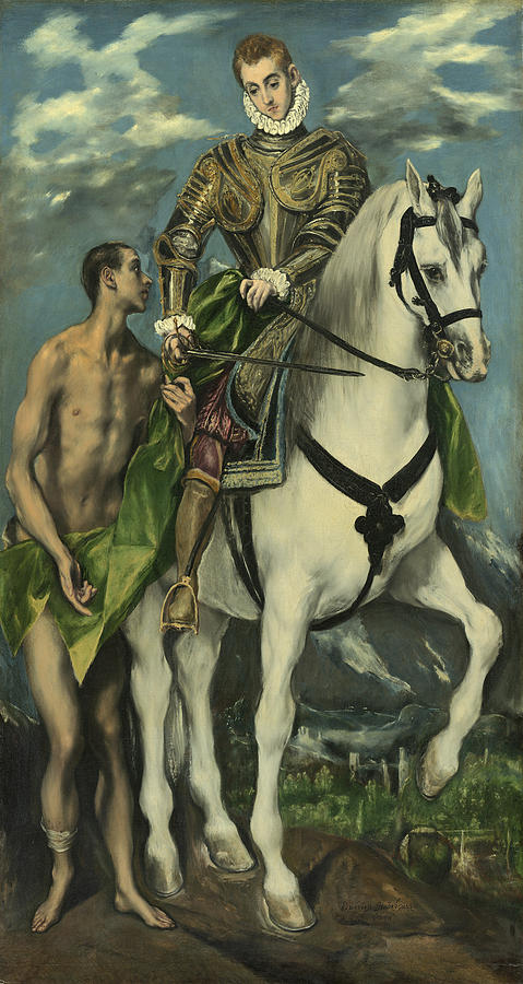 Horseback; Armour; Saint; Male Painting - St. Martin And The Beggar by Domenico Theotocopuli El Greco