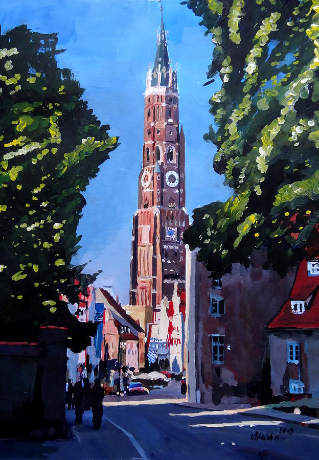 Canvas Print Painting - St Martin Old Town Seen From Former Munich Gate by M Bleichner