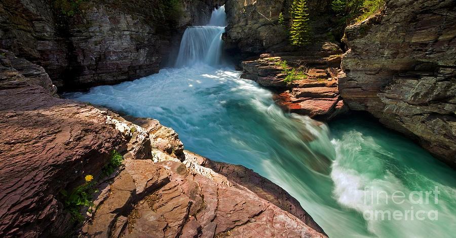 Glacier Photograph - St Mary Falls - Glacier National Park by Matt Tilghman
