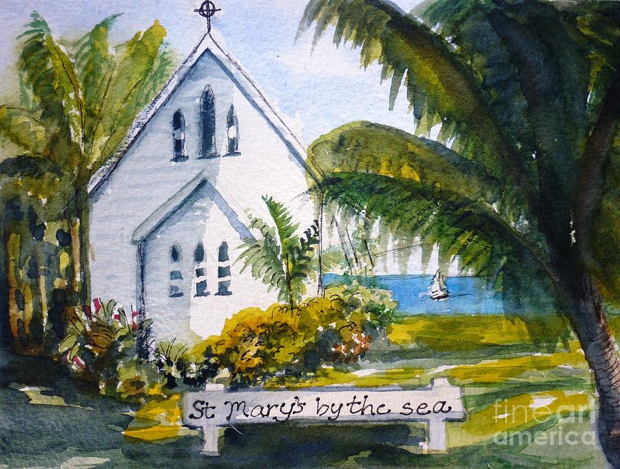 Church Painting - St Marys By The Sea - Original Sold by Therese Alcorn