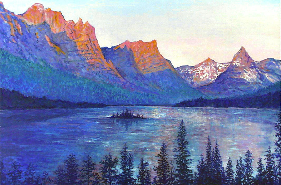 St. Mary's Lake Montana Painting by Lou Ann Bagnall