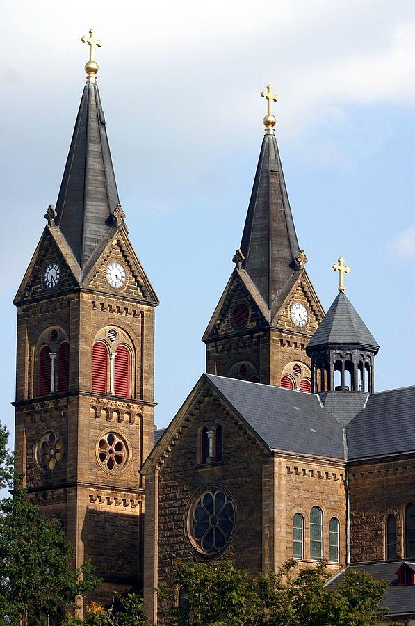 St. Meinrad Archabbey Photograph - St. Meinrad-Twin Spires and Belfry by Thia Stover