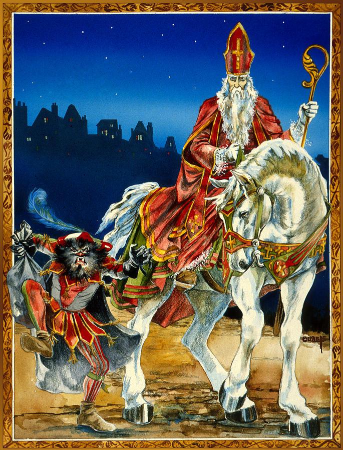 Santa Painting - St Nicholas And Dark Peter by Lynette Yencho