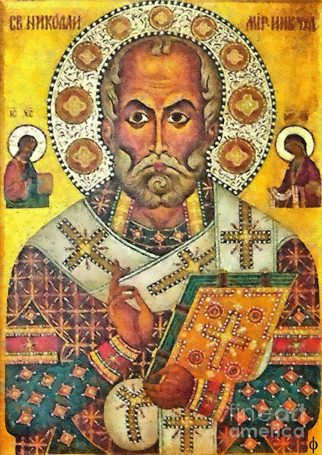 Saint Painting - St Nicholas Icon by Dragica  Micki Fortuna