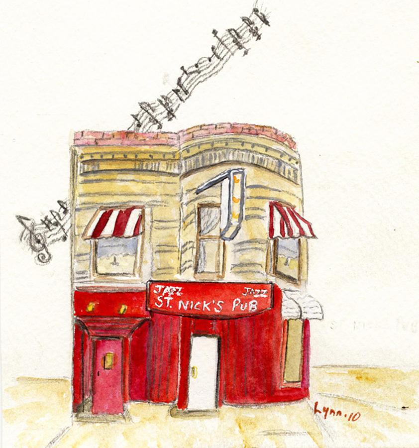 Jazz Painting - St. Nicks Jazz Pub by AFineLyne