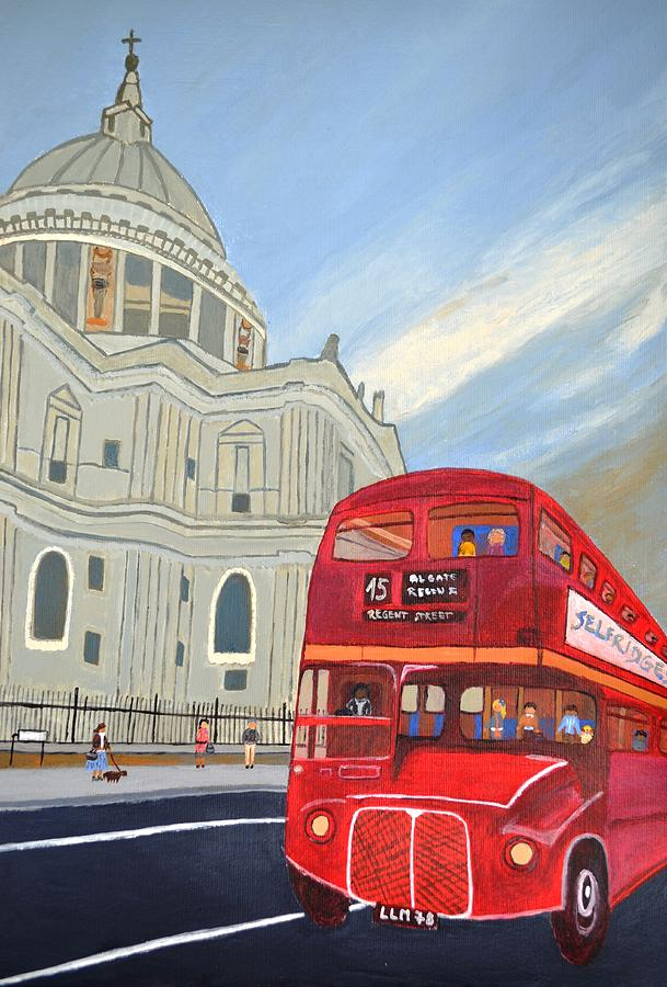 Red Bus Painting - St. Paul Cathedral And London Bus by Magdalena Frohnsdorff