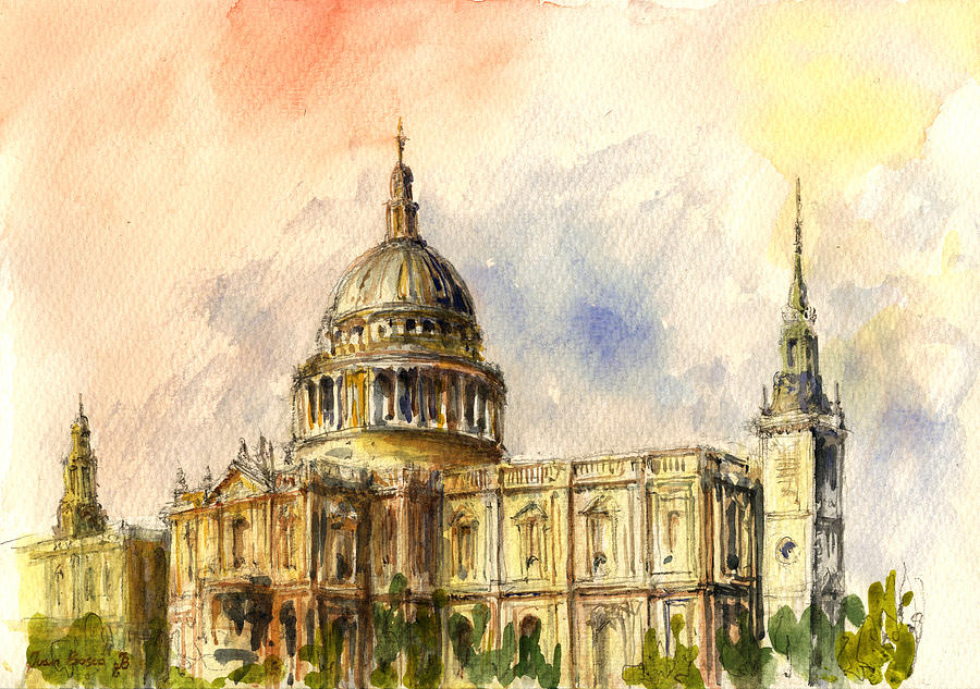 St Paul Painting - St Paul Cathedral by Juan  Bosco