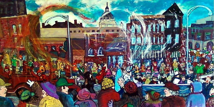 St. Paul Winter Carnival Painting - St Paul Winter Carnival love parade by Richard Hubal