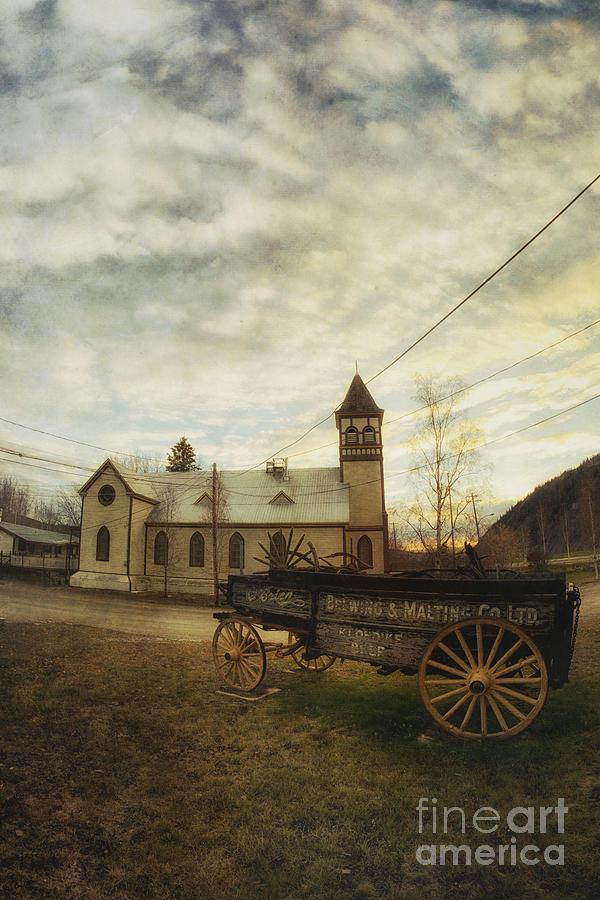 Wagon Photograph - St. Pauls Anglican Church With Wagon  by Priska Wettstein