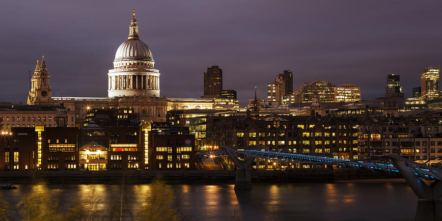 St Paul's Cathedral Photograph - St Pauls At Night by Nigel Kenny