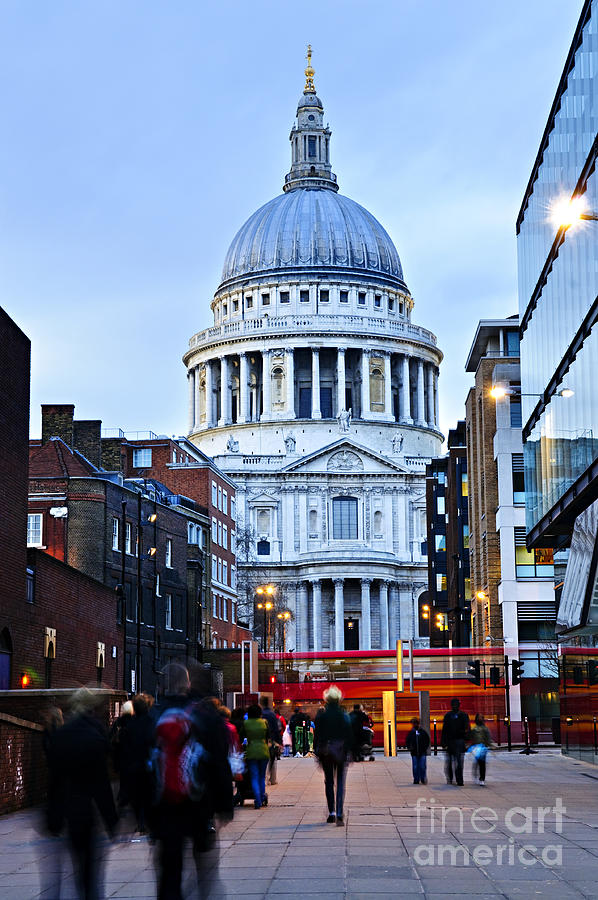 Saint Photograph - St. Pauls Cathedral At Dusk by Elena Elisseeva