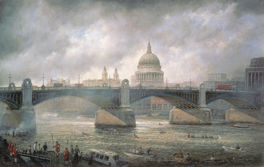 Thames Painting - St. Pauls Cathedral From The Southwark Bank by Richard Willis