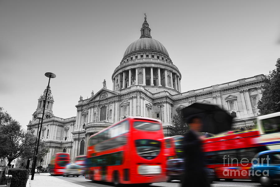 London Photograph - St Pauls Cathedral In London Uk Red Buses In Motion by Michal Bednarek