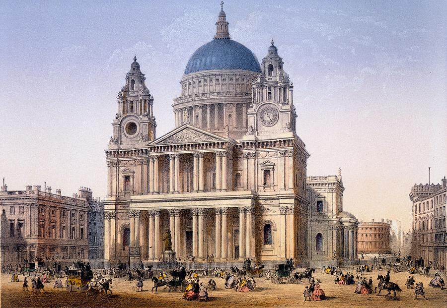 St Paul's Cathedral Drawing - St Pauls Cathedral by Achille-Louis Martinet