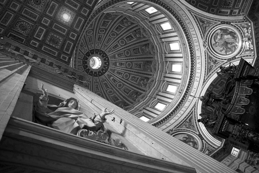 Vatican Photograph - St Peters Basilica Bw by Chevy Fleet