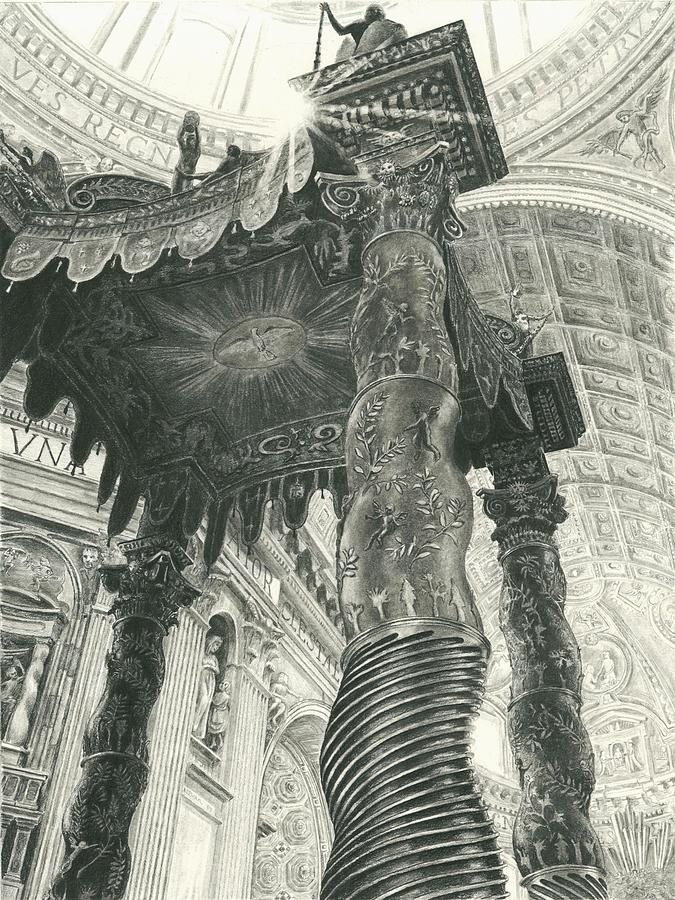Saint Peters Basilica Drawing - St. Peters Basilica  by Norman Bean