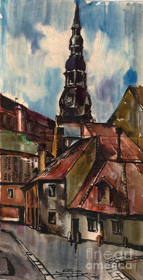 St. Peter's Painting - St. Peters Church In Riga by Anna Lobovikov-Katz