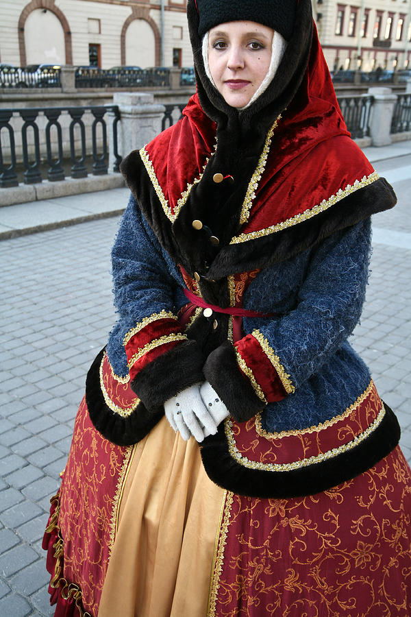 St Petersburg russian girl in traditional costume